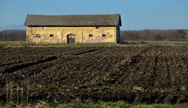 Un edificio rurale abbandonato e degradato