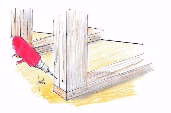 Scaffali da cantina: fissaggio montanti verticali con travetti a terra