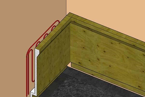 serpentine impianto riscaldamento all'interno di zoccolatura