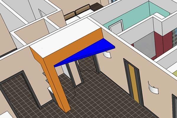 Particolare soluzione di valorizzazione del pilastro ingresso
