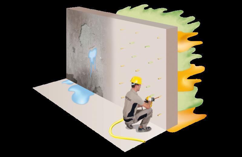 Infiltrazioni acqua: muro controterra - intervento Water Barrier Uretek