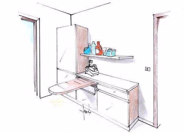 Una lavanderia organizzata in casa: disegno prospettico