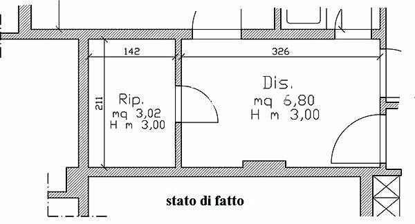 Lavanderia: pianta dell'appartamento prima dell'intervento
