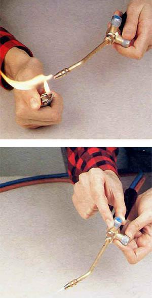 Regolare la fiamma durante la saldatura a gas