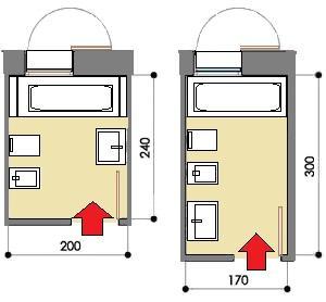 Soluzioni per bagni piccoli: sanitari posti frontalmente o in linea