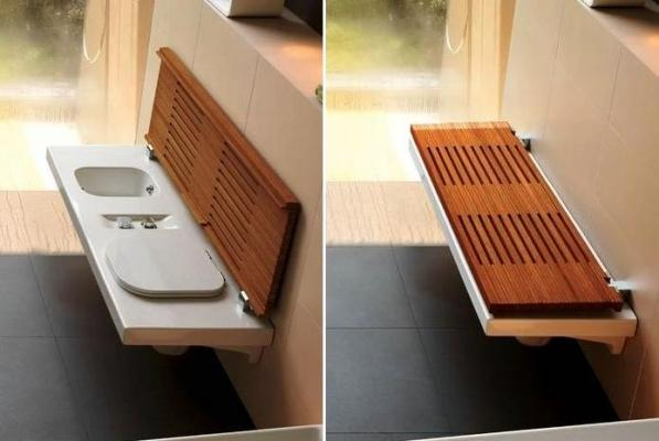 Hatria G-Full bagno con sanitari a scomparsa: layout aperto e chiuso