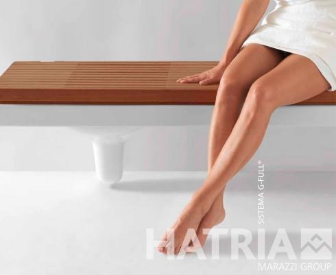 Hatria G-Full bagno: i sanitari si trasformano in panchetta