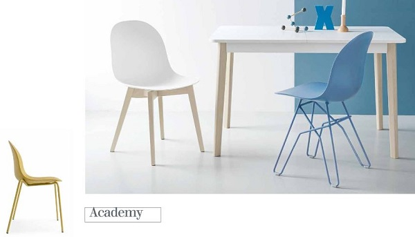 In cucina le sedie colorate Academy di Connubia by Calligaris