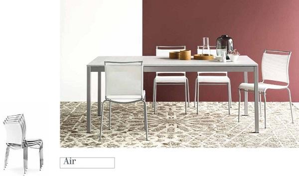 Sedie da cucina con schienale e sedile in tessuto: Air di Connubia