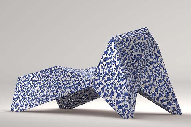 Festival del Paesaggio: chaise longue in plastica rotazionale, di Alex Mocika e Bruno Gregory