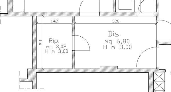 Pianta architettonica con quote, superfici e altezza delle stanze.