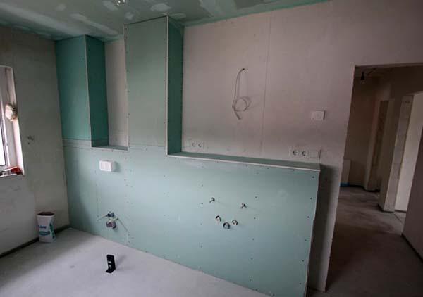 Cartongesso:costruzione parete cucina con lastre Knauf
