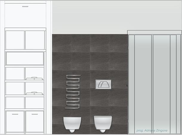 Prospetto bagno piastrella effetto resina cemento Lea Ceramiche