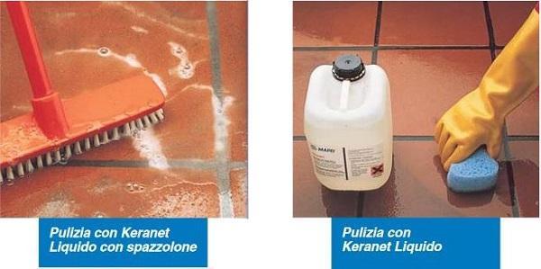Pulizia del gres con detergenti acidi come Keranet di Mapei