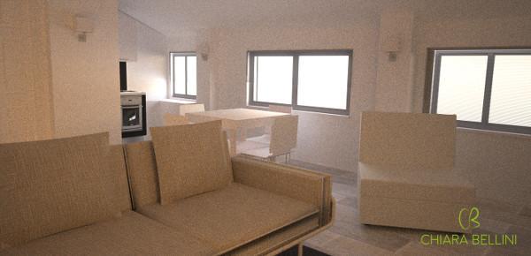 Progetto zona living in mansarda abitabile