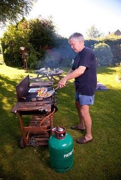 Barbecue mobile in funzione