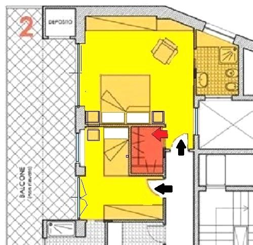 Soluzione per cabina armadio moderna. Disegno di Nora Santonastaso
