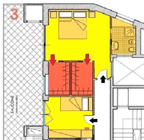 Camera da letto con cabina armadio doppia. Disegno di Nora Santonastaso