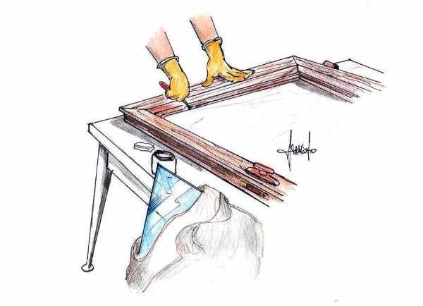 Montaggio vetro nuovo su telaio legno