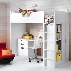 Area studio ben organizzata in mansarda - Ikea