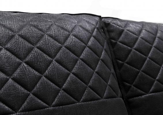 Divano letto in pelle nera Nemo dettaglio cuscino