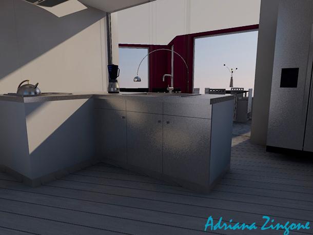 Render cucina vista salotto