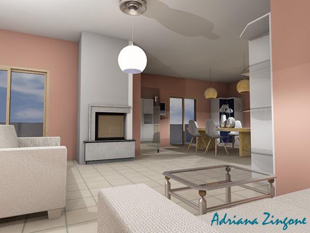 Render open space cucina salotto