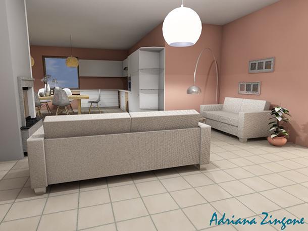 Render salotto vista cucina