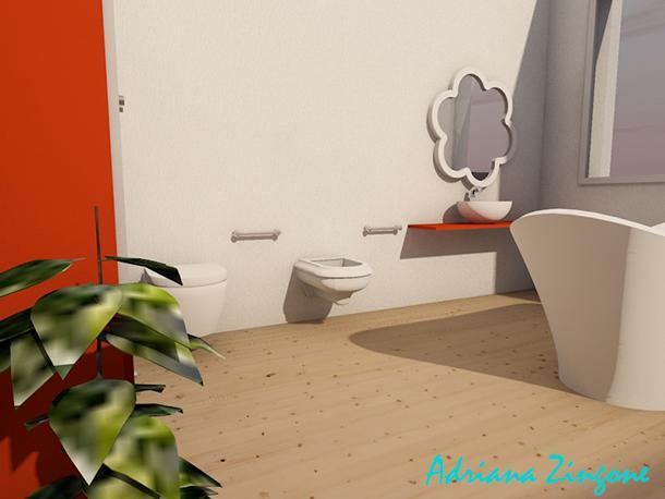 Render bagno moderno piccolo con vasca