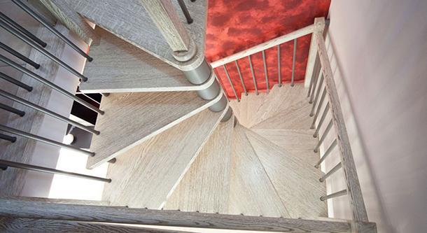 Scala in legno massello spazzolato sbiancato nocciola di Vittori Scale.