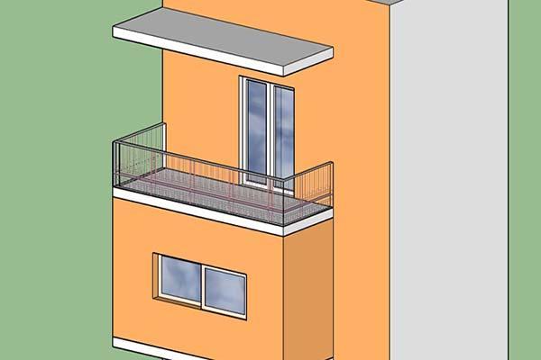 Chiusura di un balcone a sbalzo