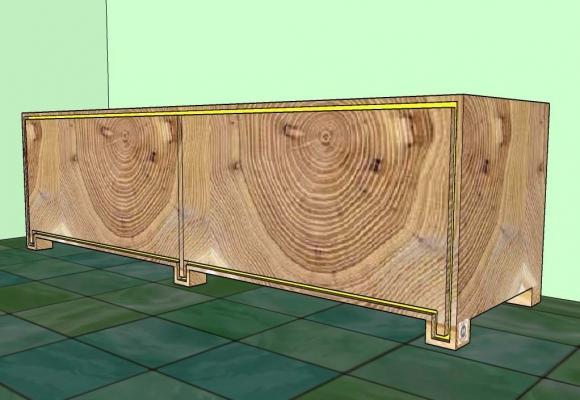 Inserto striscia led su un mobile in legno