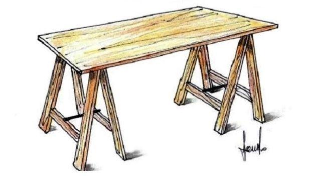 Come Costruire Un Tavolo In Legno Massiccio.Tavolo Su Misura Con I Cavalletti