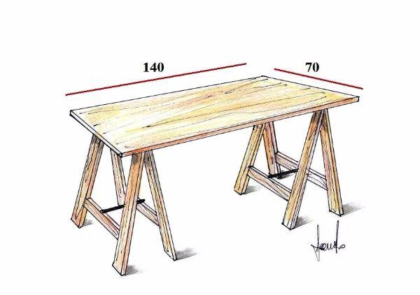 Costruire Un Tavolo Da Giardino In Legno.Tavolo Su Misura Con I Cavalletti