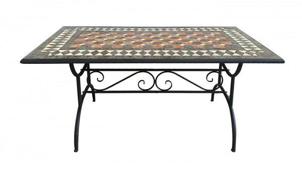 Tavolo da giardino in ferro battuto e ripiano in maioliche di Pratiko