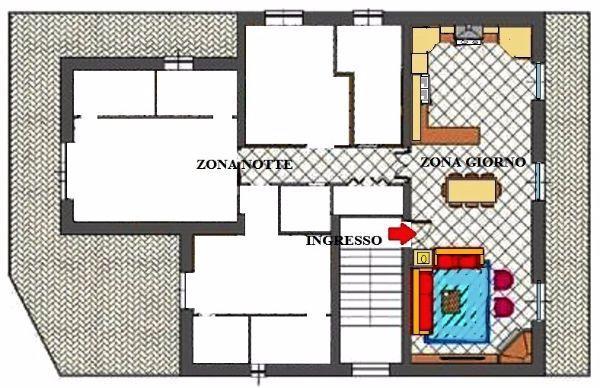 Pianta appartamento: ridistribuzione spazi zona giorno
