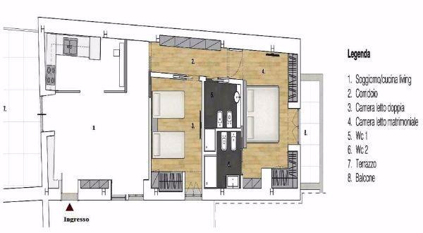 Pianta appartamento, prima degli interventi di ristrutturazione