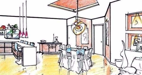 Zona giorno: progettazione open space 30 mq