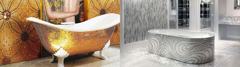 Bagni moderni con vasca mosaicata Sicis