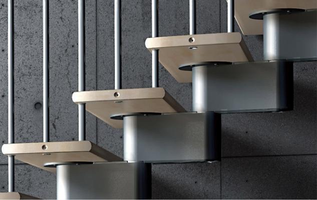 Dettaglio scala in legno e alluminio Nika CZ di Mobirolo