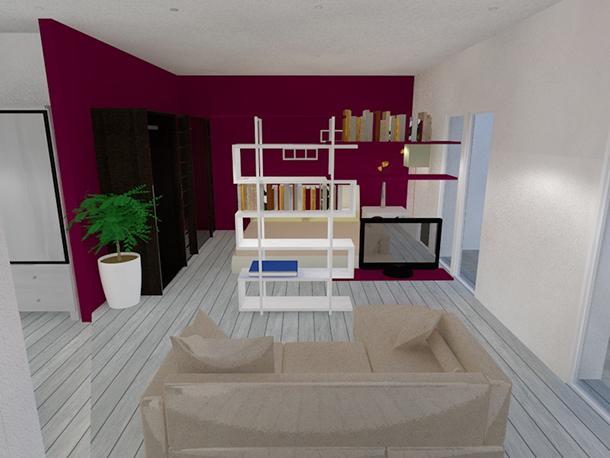 Arredare un loft: parete colorata