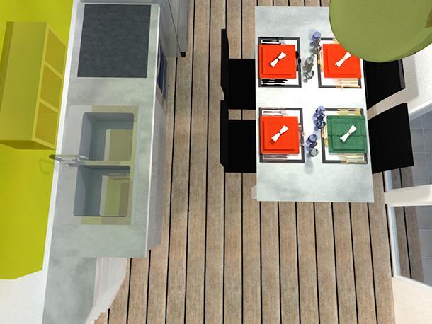 Cucina loft: vista dall'alto