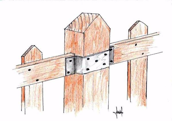 staccionata legno con giunzione metallica tra steccati prefiniti