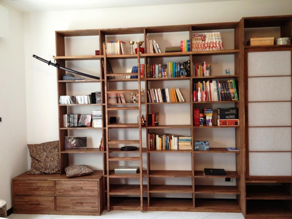 Librerie Con Scala Scorrevole In Legno.Foto Libreria Legno Fai Da Te