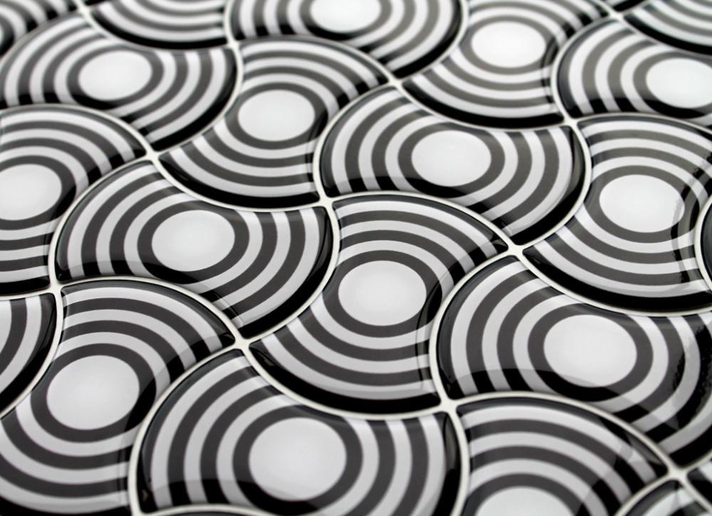 Mosaico tridimensionale in resina Black & White di Gemanco Design