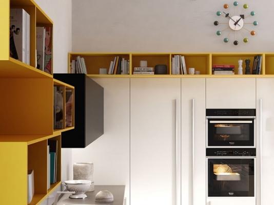 Cucine contemporanee Code di Snaidero in giallo