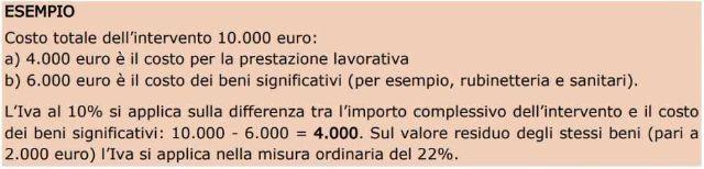 Esempio calcolo IVA agevolata sui beni significativi