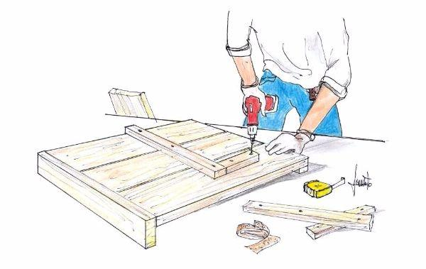 Assemblaggio panca in legno