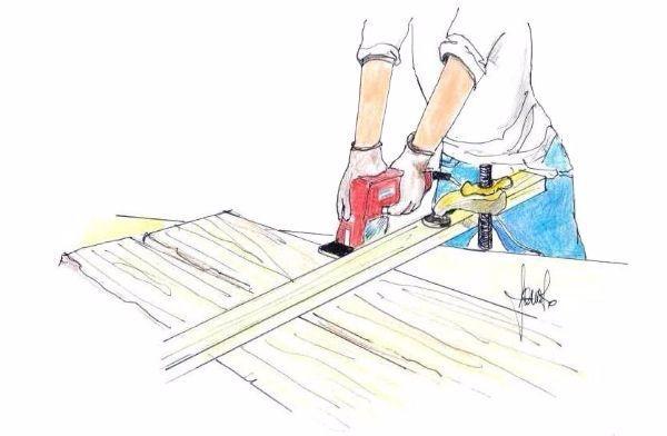 Costruzione panca: taglio delle tavole di legno