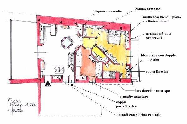 Disimpegno tra gli spazi di casa: pianta con arredi